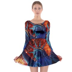 Statue Of Liberty Fireworks At Night United States Of America Long Sleeve Skater Dress