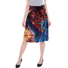 Statue Of Liberty Fireworks At Night United States Of America Midi Beach Skirt