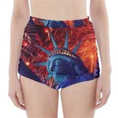 Statue Of Liberty Fireworks At Night United States Of America High-Waisted Bikini Bottoms