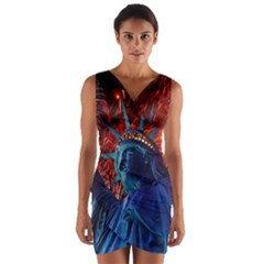 Statue Of Liberty Fireworks At Night United States Of America Wrap Front Bodycon Dress