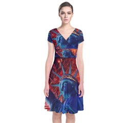 Statue Of Liberty Fireworks At Night United States Of America Short Sleeve Front Wrap Dress