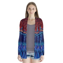 Statue Of Liberty Fireworks At Night United States Of America Cardigans