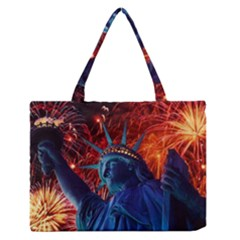Statue Of Liberty Fireworks At Night United States Of America Medium Zipper Tote Bag