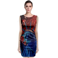 Statue Of Liberty Fireworks At Night United States Of America Sleeveless Velvet Midi Dress