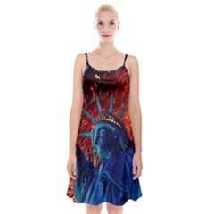 Statue Of Liberty Fireworks At Night United States Of America Spaghetti Strap Velvet Dress