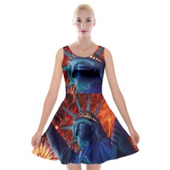 Statue Of Liberty Fireworks At Night United States Of America Velvet Skater Dress