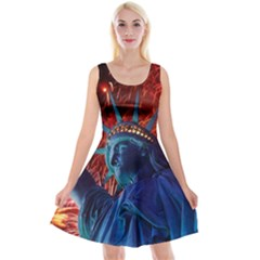 Statue Of Liberty Fireworks At Night United States Of America Reversible Velvet Sleeveless Dress