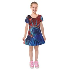 Statue Of Liberty Fireworks At Night United States Of America Kids  Short Sleeve Velvet Dress