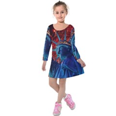 Statue Of Liberty Fireworks At Night United States Of America Kids  Long Sleeve Velvet Dress