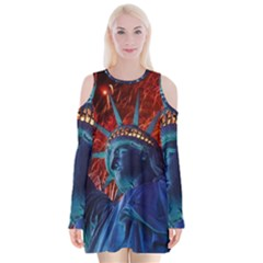Statue Of Liberty Fireworks At Night United States Of America Velvet Long Sleeve Shoulder Cutout Dress