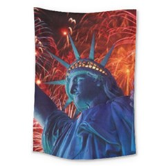 Statue Of Liberty Fireworks At Night United States Of America Large Tapestry