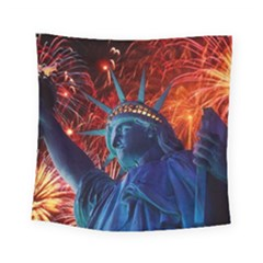 Statue Of Liberty Fireworks At Night United States Of America Square Tapestry (Small)