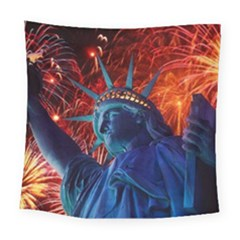 Statue Of Liberty Fireworks At Night United States Of America Square Tapestry (large)