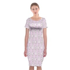 Rabbit Pink Animals Classic Short Sleeve Midi Dress