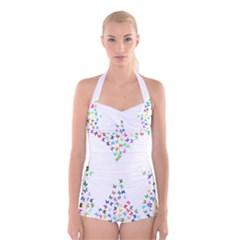 Prismatic Negative Space Butterflies Boyleg Halter Swimsuit