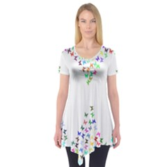 Prismatic Negative Space Butterflies Short Sleeve Tunic