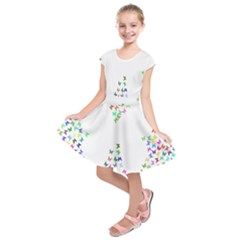 Prismatic Negative Space Butterflies Kids  Short Sleeve Dress