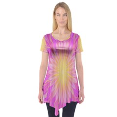 Round Bright Pink Flower Floral Short Sleeve Tunic