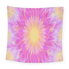 Round Bright Pink Flower Floral Square Tapestry (large)