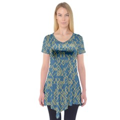 Random Blie Yellow Short Sleeve Tunic