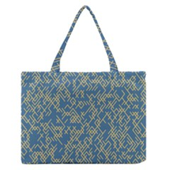Random Blie Yellow Medium Zipper Tote Bag