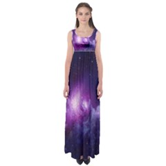 Galaxy Space Purple Empire Waist Maxi Dress