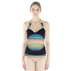 True Color Variety Of The Planet Saturn Halter Swimsuit