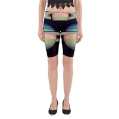 True Color Variety Of The Planet Saturn Yoga Cropped Leggings