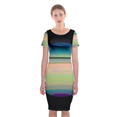 True Color Variety Of The Planet Saturn Classic Short Sleeve Midi Dress