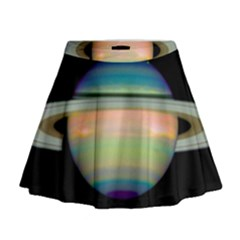 True Color Variety Of The Planet Saturn Mini Flare Skirt