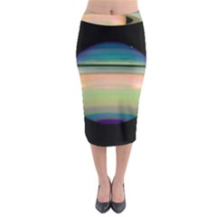 True Color Variety Of The Planet Saturn Midi Pencil Skirt