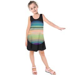 True Color Variety Of The Planet Saturn Kids  Sleeveless Dress