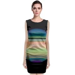 True Color Variety Of The Planet Saturn Sleeveless Velvet Midi Dress