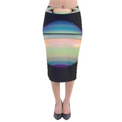True Color Variety Of The Planet Saturn Velvet Midi Pencil Skirt
