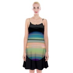True Color Variety Of The Planet Saturn Spaghetti Strap Velvet Dress