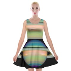 True Color Variety Of The Planet Saturn Velvet Skater Dress