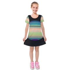 True Color Variety Of The Planet Saturn Kids  Short Sleeve Velvet Dress