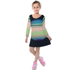 True Color Variety Of The Planet Saturn Kids  Long Sleeve Velvet Dress