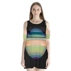 True Color Variety Of The Planet Saturn Shoulder Cutout Velvet  One Piece