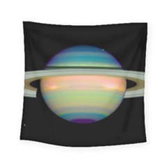 True Color Variety Of The Planet Saturn Square Tapestry (small)