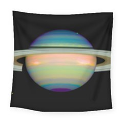 True Color Variety Of The Planet Saturn Square Tapestry (Large)