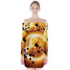 Sun Man Long Sleeve Off Shoulder Dress