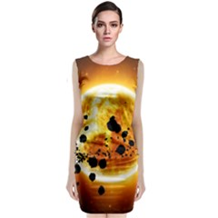 Sun Man Sleeveless Velvet Midi Dress