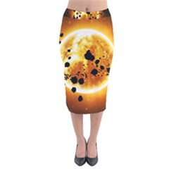 Sun Man Velvet Midi Pencil Skirt