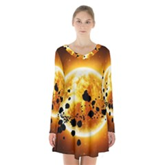 Sun Man Long Sleeve Velvet V Neck Dress