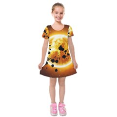 Sun Man Kids  Short Sleeve Velvet Dress