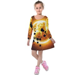 Sun Man Kids  Long Sleeve Velvet Dress