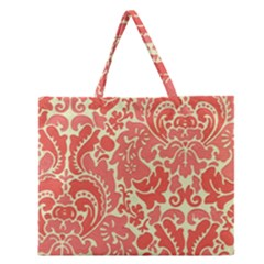 Red Floral Zipper Large Tote Bag