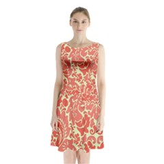 Red Floral Sleeveless Chiffon Waist Tie Dress