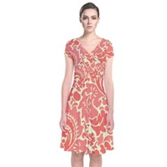 Red Floral Short Sleeve Front Wrap Dress